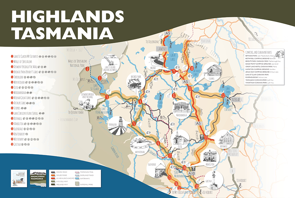 Highlands Tasmania Touring Map Central Highlands Council